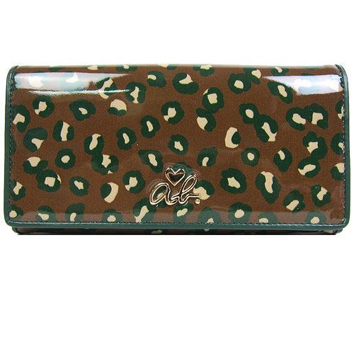 agnes b.豹紋漆皮兩折長夾(咖綠)