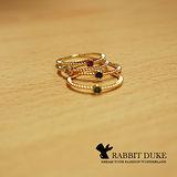 【Rabbit Duke】經典歐美風格 個性彩色寶石麻花編織設計線戒