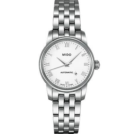 MIDO Baroncelli 雅典女神機械鋼帶腕錶-銀 M76004261