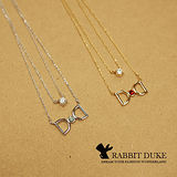 【Rabbit Duke】現貨 經典歐美風格 個性925純銀蝴蝶結鑲寶石雙練設計項鍊