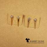 【Rabbit Duke】現貨 經典歐美風格 個性大鑽拼接金屬立體三角柱面耳環
