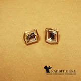 【Rabbit Duke】現貨 經典歐美風格 個性不規則大寶石鑲框設計耳環 千頌伊款