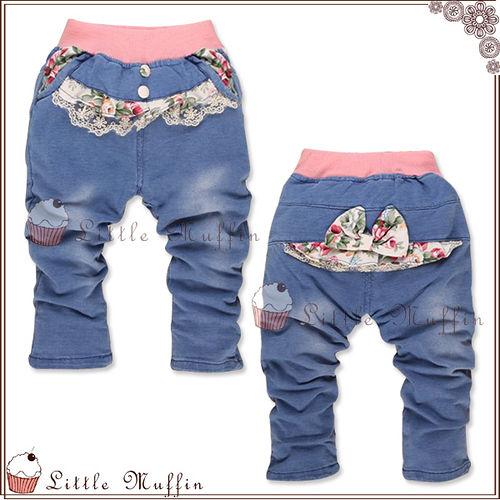 牛仔褲 棉質雙面蕾絲小碎花鬆緊褲頭長褲 OTH022