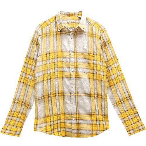 BURBERRY 黃色格紋男性長袖上衣【S號】