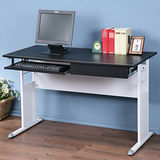 《Homelike》巧思辦公桌 亮白系列-黑色仿馬鞍皮120cm(附抽屜+鍵盤架)