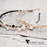 【Rabbit Duke】經典歐美風格 個性珍珠皇冠小鑽拼接設計髮箍