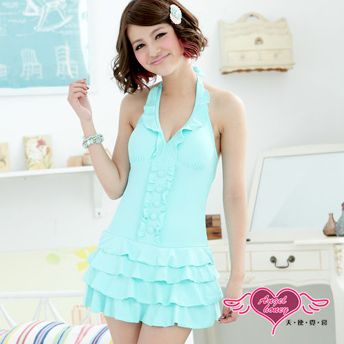 【天使霓裳】沁涼亮麗 一件式加大尺碼泳衣(淺藍)
