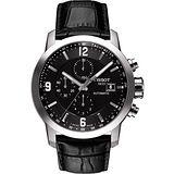 TISSOT T-Sport PRC200 競速三眼計時機械皮帶腕錶-黑 T0554271605700