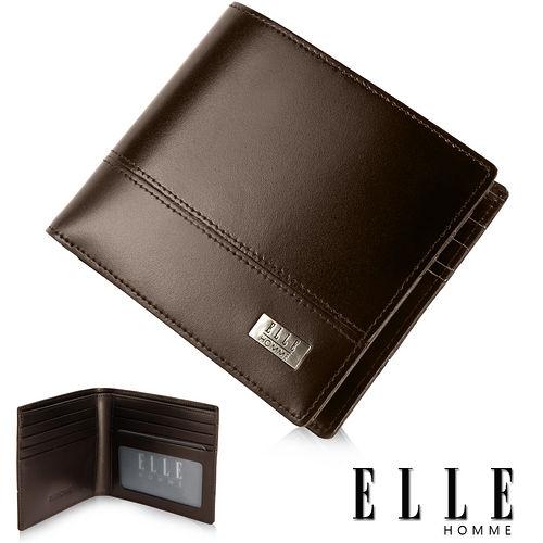 ELLE HOMME 精品短夾 水波紋 單層 鈔票多層/收納夾名片/證件層設計-咖啡EL81793-45