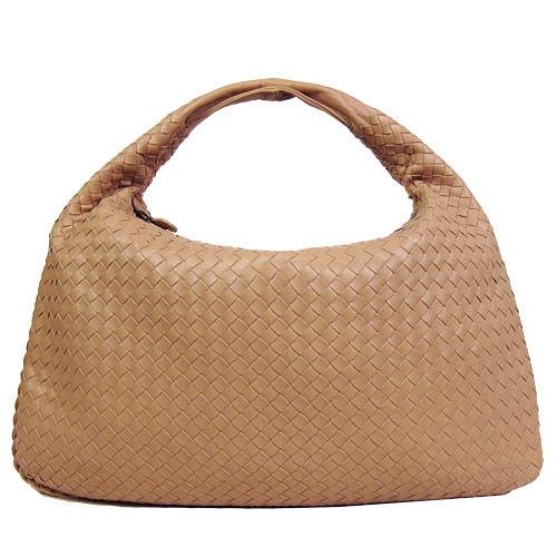 BOTTEGA VENETA 經典小羊皮編織肩背包(大/粉膚)