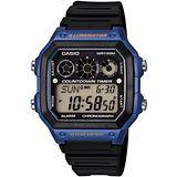 CASIO 雷神戰士個性運動電子錶(黑x藍)AE-1300WH-2A