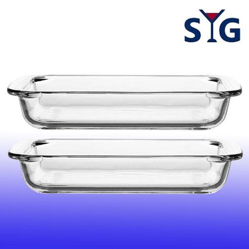 SYG台玻-耐熱玻璃長方形烤盤1L-二入組