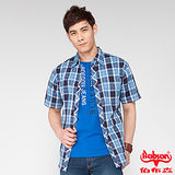 BOBSON 男款格紋短袖襯衫(藍24001-53)