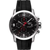 TISSOT T-Sport PRC200 競速三眼計時機械橡膠較錶帶腕錶-黑 T0554271705700