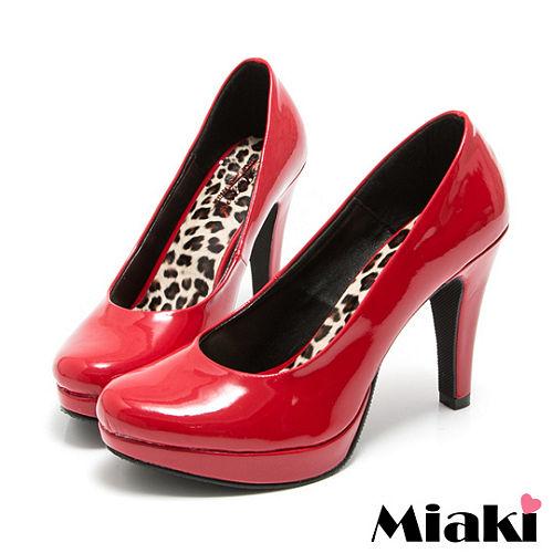 (現貨+預購)【Miaki】 MIT 都會奢華皮質細跟包鞋高跟鞋 (紅色)