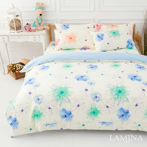 LAMINA  花想曲-藍  雙人三件式純棉床包組