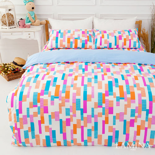 LAMINA  楓葉方格-藍  雙人三件式純棉床包組