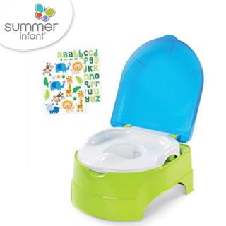 美國 Summer Infant 3合1兒童馬桶練習組 - 藍綠色