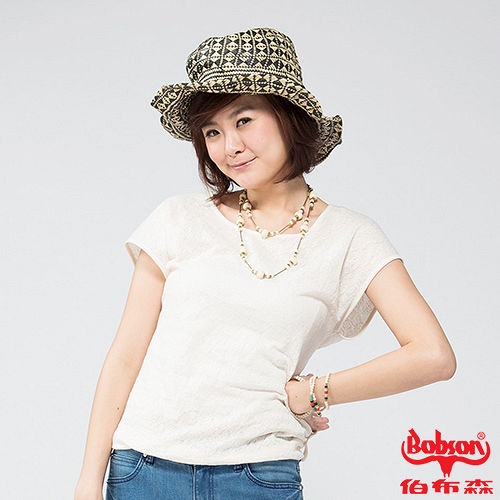 BOBSON 女款緹花短袖上衣(米白24089-81)