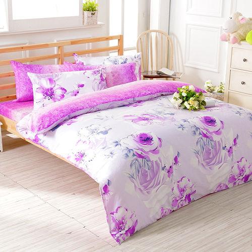 FOCA《醉戀花憶》加大100%精梳棉四件式舖棉兩用被床包組
