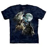 『摩達客』(預購)美國進口【The Mountain】自然純棉系列 藍三狼嚎月 T恤