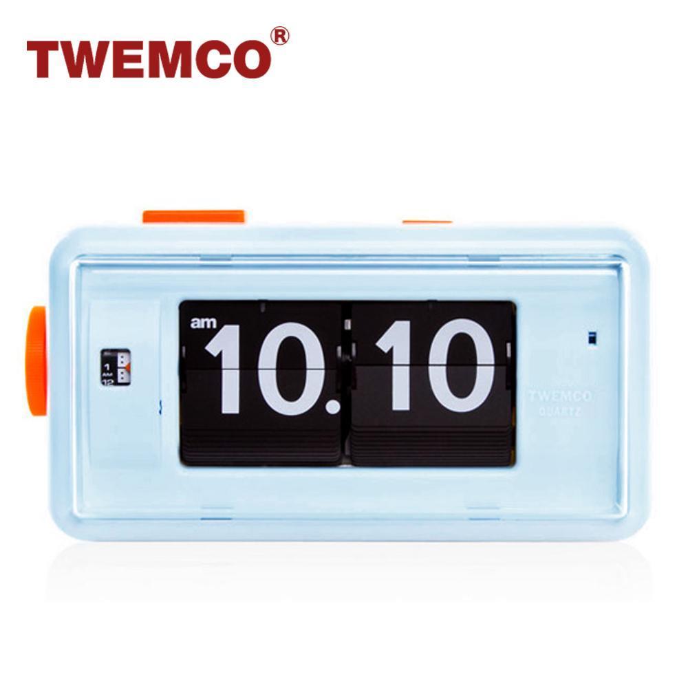 【TWEMCO】機械式 翻頁鐘 復古收藏 方形鬧鐘夜燈功能 (AL-30 藍色)