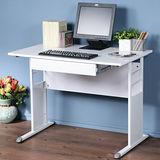 《Homelike》巧思辦公桌 亮白系列-白色亮面烤漆100cm(附抽屜)