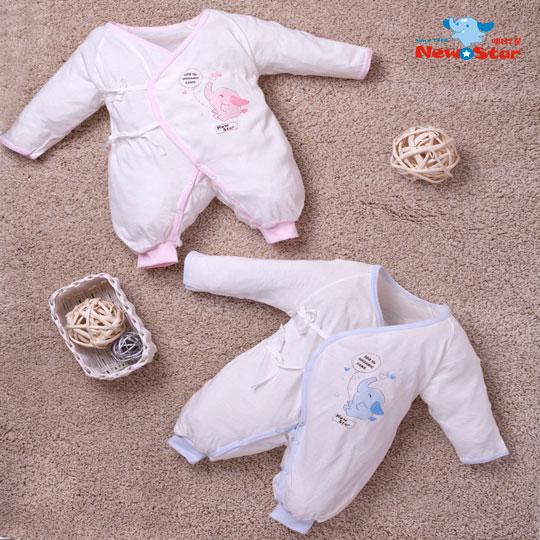 【聖哥-明日之星New Star】有機棉-薄-嬰兒兔衣(長袖長褲、護手反摺、綁+釦)藍 粉紅/3M 6M 12M [MIT台灣製造-給您安心好品質]