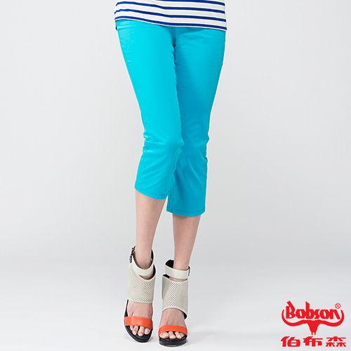 BOBSON 女款刺繡鑽飾七分褲(藍212-50)