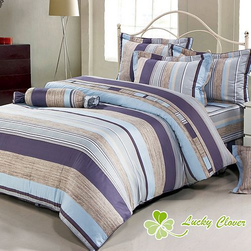 【幸運草】時尚藍調-雙人絲光精梳棉四件式兩用被床包組