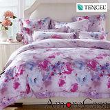 【AmoreCasa】夢幻花漾 100%TENCEL天絲雙人四件式兩用被床包組