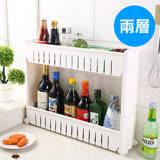 【ENNE】白色時尚經典多功能移動式縫隙收納櫃/二層式(F0140-S)