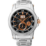 SEIKO PREMIER 人動電能萬年曆腕錶-黑x玫塊金 7D56-0AB0K