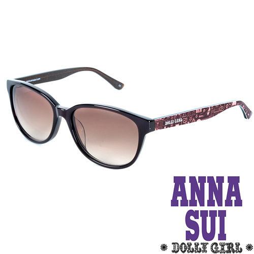 Anna Sui安娜蘇日本Dolly Girl系列經典洋娃娃元素造型太陽眼鏡‧黑+棕【DG801161】