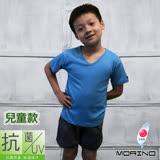 【morino】兒童抗菌防臭短袖V領衫-水藍
