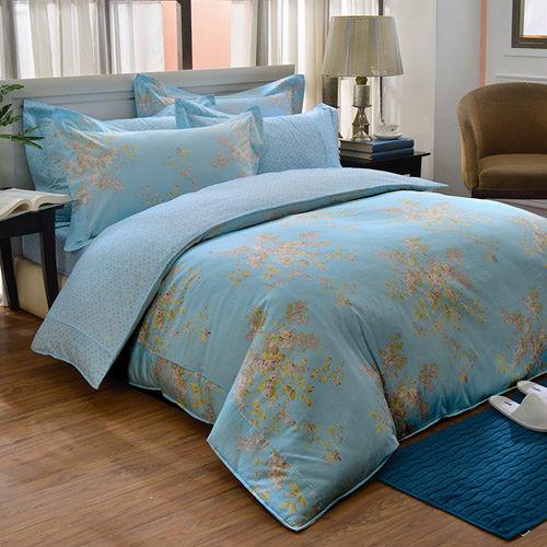 義大利La Belle《仲夏晴空》雙人四件式防蹣抗菌舖棉兩用被床包組