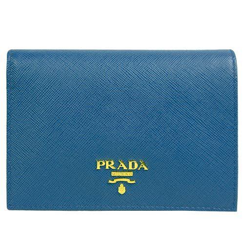 PRADA  Saffiano 防刮牛皮防刮短夾(藍綠)