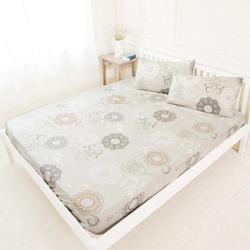 【米夢家居】台灣製造-100%精梳純棉巴洛克雙人床包三件組(米)-雙人5尺
