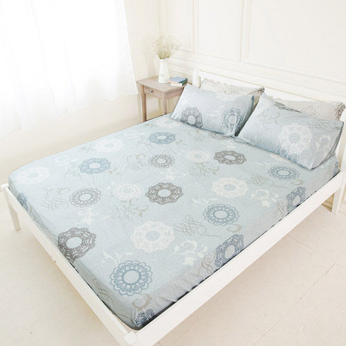 【米夢家居】台灣製造-100%精梳純棉巴洛克雙人床包三件組(灰)-雙人5尺
