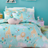OLIVIA 《肯亞大冒險 綠》 標準單人床包鋪棉冬夏兩用被套組 童趣系列