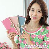 預購【CHACO韓國】韓國OMNIA典藏LOVE心型水晶粉彩真皮長夾包(3色)
