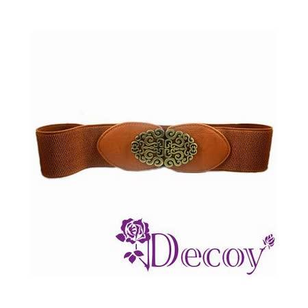 《Decoy》中國雕花*寬版彈性腰封/咖