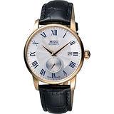MIDO Baroncelli II 羅馬假期小秒針機械腕錶-銀x玫塊金框 M86083214
