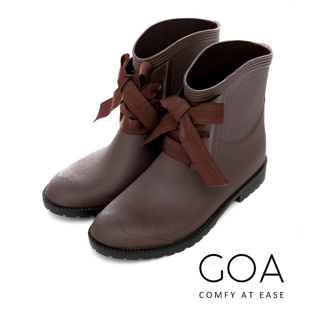 GOA 百搭素面精靈綁帶短筒雨靴-咖啡色