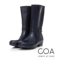 GOA 飾釦造型亮面兩穿長筒雨靴-深藍色