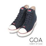 GOA 女款牛仔單寧高筒帆布鞋【含內增高鞋墊】-深藍色