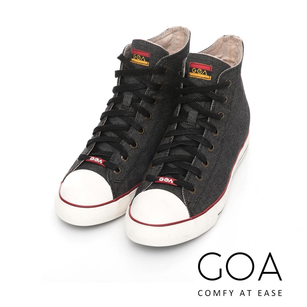 GOA 女款牛仔單寧高筒帆布鞋【含內增高鞋墊】-黑色
