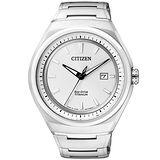 CITIZEN ECO-Drive 超級鈦都會時尚腕錶-銀白 AW1251-51A
