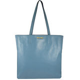 MIU MIU 浮雕LOGO質感超輕全皮革購物包.淡藍