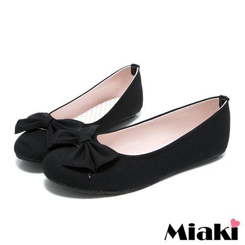 (現貨+預購) 【Miaki】MIT 百搭時尚蝴蝶結平底圓頭娃娃鞋 (黑色)
